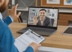 A hiring manager talking to a candidate for a virtual job interview